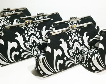 Bridesmaid Clutches Wedding Clutch Bridal Clutch - Choose Your Fabric Black White Set of 7