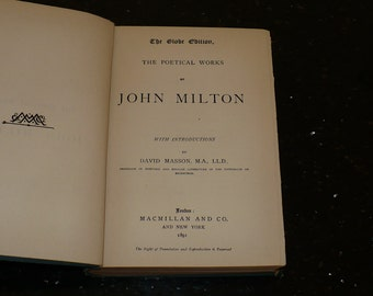 Poetry, John Milton, The Poetical Works, 1891, The Globe Edition, Books, Poetry Book, Poems, Literary Fiction, Vintage Books,