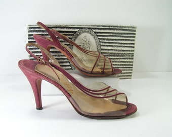 slingback stiletto peeptoe pumps womens 7.5 N burgundy amano leather suede clear vinyl top 3.75 inch high heels u.s.a.
