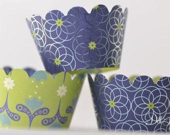 Cobalt Blue & Lime Green Dutch Floral Cupcake Wraps - Set of 24 - Standard or MIni