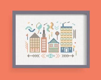 DIY The City/ Cross Stitch Pattern .pdf  / Instant Download