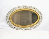 Antique Oval Wall Mirror Large Ornate White & Gold Shabby Chic Style Cottage Decor Vanity Bathroom Hall Foyer Mirror
