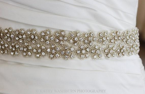 Bridal beaded sash, crystal bridal sash, beaded wedding sash, crystal wedding belt, rhinestone belt, art deco crystal sash - MAIA