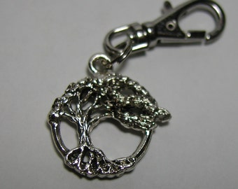 Silver Tree of Life Zipper Pull Backpack Clip Purse Fob Branches Clip On Charm