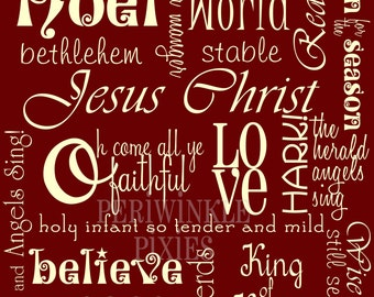Subway Art - The Meaning of Christmas  Dark Red PRINTABLE 11 x14