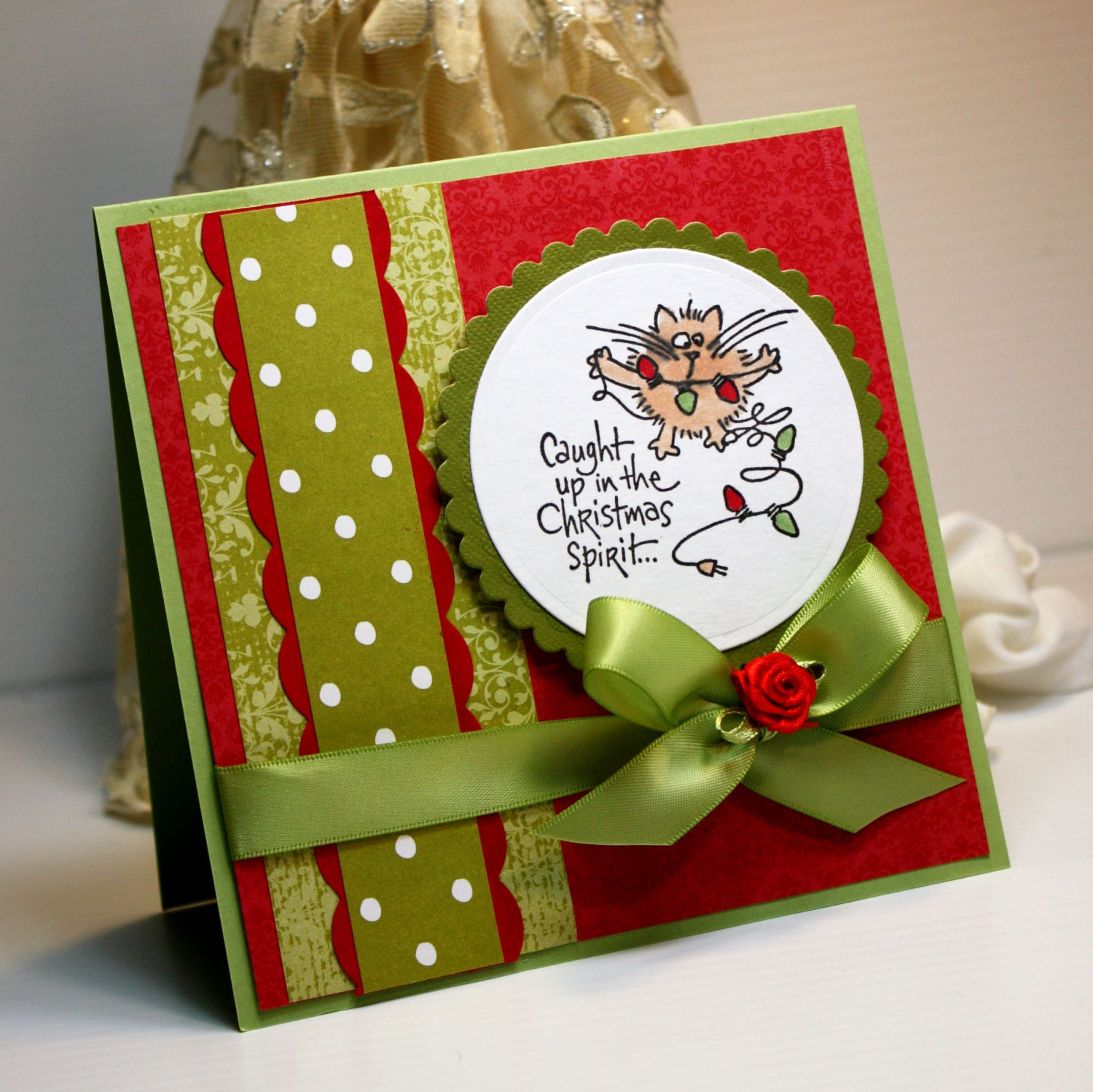 Christmas Card Handmade Greeting Card Caught Up In The