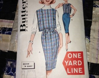 1960s Butterick Pattern 9441 Misses Overblouse and Skirt Size 14 Bust 34