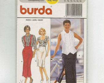 High waisted Pencil Skirt by Burda 4240 in Multi-Size 8 to 18 date 1993
