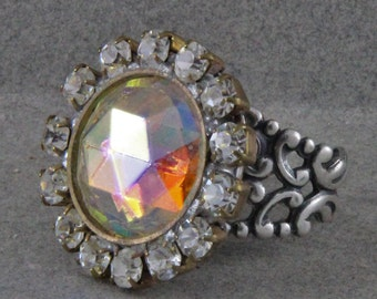 Czech Glass Button Ring Handmade with a Vintage Top