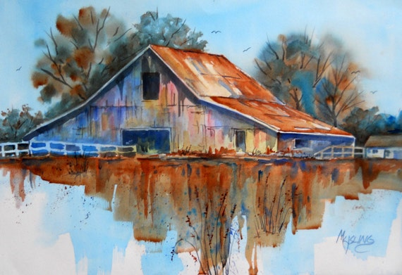 Watercolor barn rustic by colorado artist martha kisling for Watercolor barn paintings
