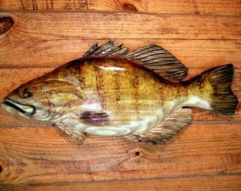 "Small Mouth Bass 24"" chainsaw wood carving sport fishing lake lodge fish wall mount home decor sculpture indoor/ourdoor hand painted art"