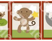 Set of 3  (Amazing Circus Animals) 8x10 Nursery Art Instant Download