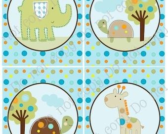 "Set of 4 Unframed ""Giggle Gang Animals/Elephant/Giraffe/Turtles"" 8x10 inch Linen Look Nursery Wall Art Prints Baby Children Kids Decor"