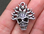 2 Skull Charms Antique Silver Tone 3 Dimensional - SC2589