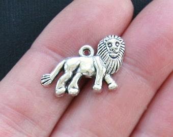 10 Lion Charms Antique  Silver Tone - SC2071
