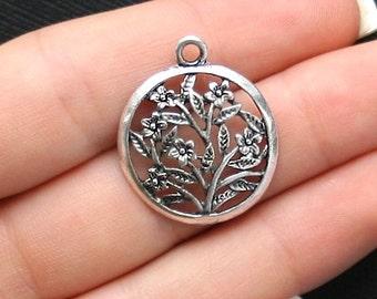 5 Flower Charms Antique  Silver Tone Wonderful Detailling - SC1571