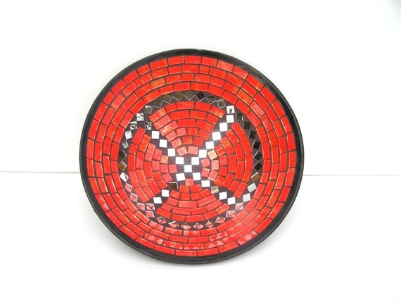 Red fruit bowl glass mosaic Flaming Poppy with mirror spicy home decor gift handmade