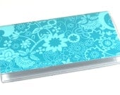 Checkbook Cover Teal Flowers