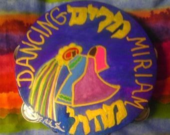 """Bright Miriam Dancing 10"""" inch hand painted Tambourine"""