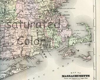 Massachusetts ORIGINAL MAP Antique 1895 Map of Massachusetts - Vintage Map