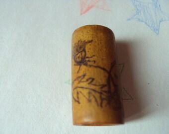 Bamboo Dread Bead - Freestyle Pyrographic -Dandelion
