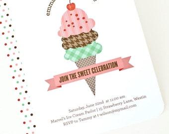 Ice Cream Party Invitation, Children's Birthday Party Invite // HERE'S THE SCOOP