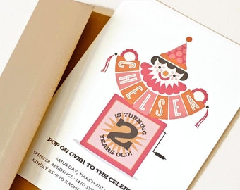 Clown Birthday Party, Invitation for Girl's First Birthday // Jack-in-the-Box