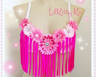 Pink Daisy love - EDC fringe bra with sparkly daisies