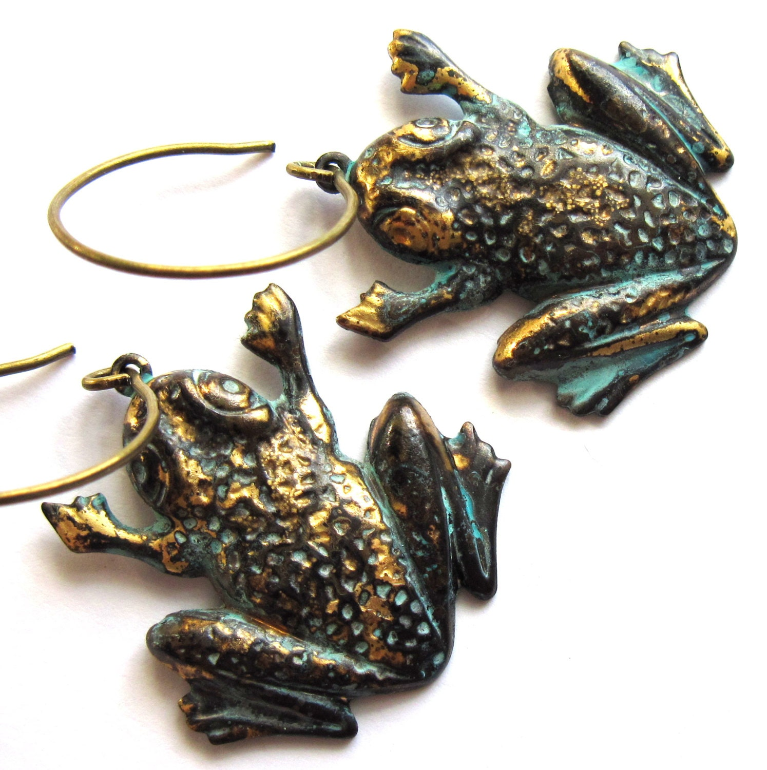 verdigris patina frog earrings brass dangle fashion jewelry