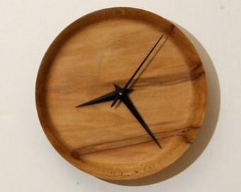 Wood Wall Clock, Turned Wood Clock,  Ambrosia Maple Clock, Small Clock