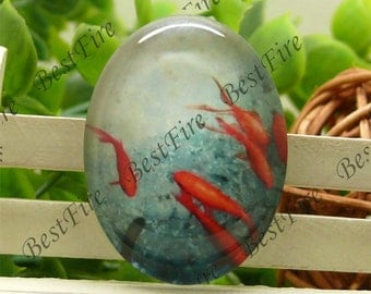 10x14mm,13x18mm,18x25mm,20x30mm,30x40mm Oval Glass Cabochons Cartoon Fish, jewelry Cabochons finding beads,red fish cabochons--12