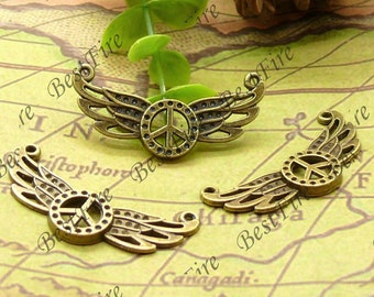 12PCS Of 12x38MM Antique Brass Charm Pendant,metal finding,pendant beads,jewelry findings,Connectors Bracelet,Peace Symbol,wing
