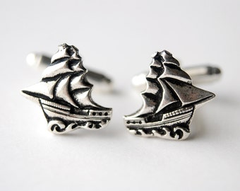 Sailing Ship Cuff Links, Nautical Accessories, Pirate Ship Cufflinks