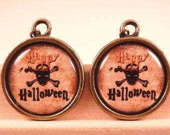 Halloween Jewelry Halloween Earrings Skull Jewelry Tile Earrings Brass Jewelry Holiday Jewelry Beaded Jewelry Brass Earrings Trick or Treat