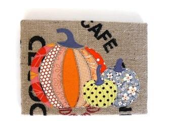 SALE - Three Pumpkins -- Burlap Art, 9 x 12 inch -- Ready to ship