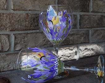 Hand Painted Lavender Wine Glasses Large (2)