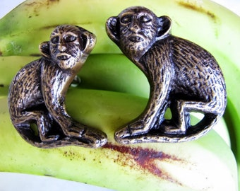 Monkey Business Brass Drawer Pulls or Door Knobs 2pcs