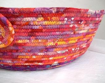 Raspberry Fiber Basket, Handmade Coiled Fabric Basket, Berry Batik Cat Bed, Dog Bed, Boho Fruit Smoothie Pet Bed