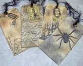 Halloween Vintage Themed Hand Stamped Gift Tags - set of Medium 4 Tags - Inked Stamped Gift Tags, Bookmarks, Wine Labels, etc.