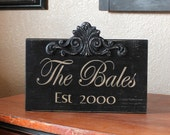 Custom Made Hand Painted Wood Family Name Sign