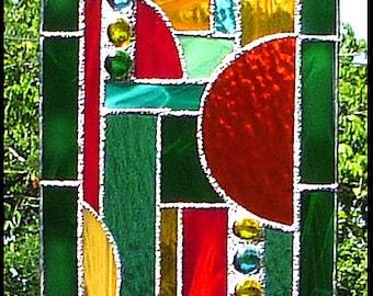 """Stained Glass Sun Catcher - Green - Gold - Aqua - Orange  Geometric Sun-Catcher - Abstract stained Glass Suncatcher - 7 1/2"""" x16"""" - 9506-GR"""