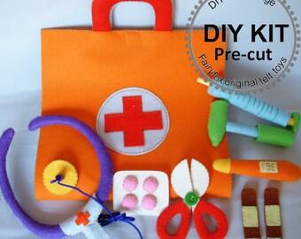 DIY KIT, Felt toys-Felt Medical bag, Doctor Set-K-T22