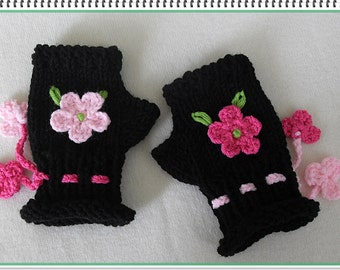 Childrens black mittens, BLACK Wrist warmers for girls, Black flowered gloves for girls, Pink flowered black mittens, Hand knitted gloves