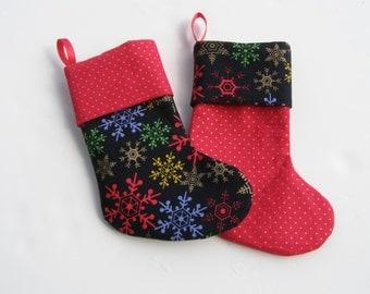 Mini Christmas Stocking Midnight Snowflakes set of 2