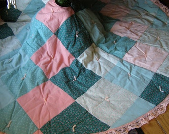 Quilted Tree Skirt Vintage Patchwork Christmas Tree Skirt