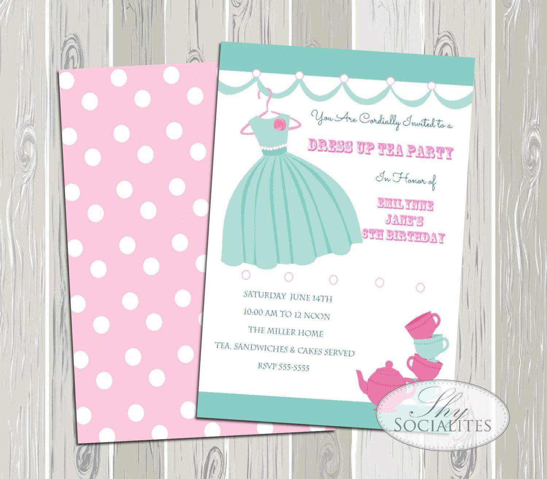 dress up tea tea party invitation dress up party invitation. Black Bedroom Furniture Sets. Home Design Ideas