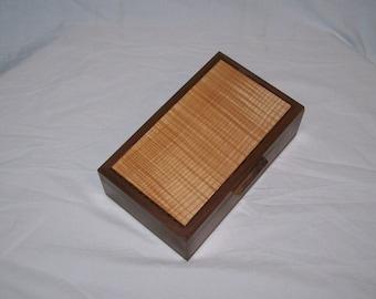 Dynamite Walnut Box with Fiddle Back Maple Inlayed Top 10 1/4''x6 x3 1/4