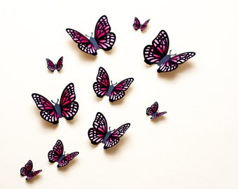Light pink & fuchsia butterfly wall art baby girl room decor, baby shower decorations