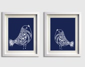 Bird Nursery Art , Nursery Art Navy , Large Wall Art Birds Navy , Woodland Nursery Art , Forest Nursery Art , Girl Room Art , Bathroom Art