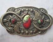Vintage Czech Brooch Snakes Scarab Brass Art Glass 20s Egyptian Revival Bohemian Downton Abbey Neiger Antique Jewelry